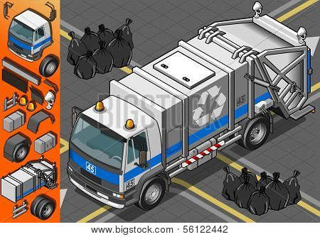 Isometric White Garbage Truck In Front View