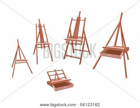 Set Of Wooden Easel On White Background