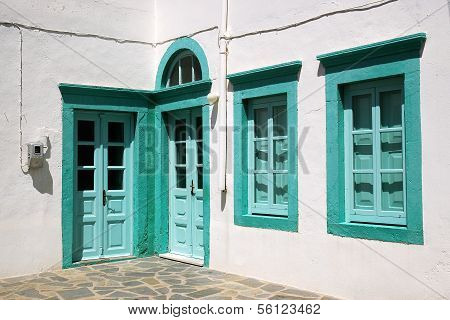 Doors and windows in green