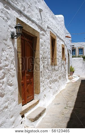 Entrance to the house in the Greek narrow lane