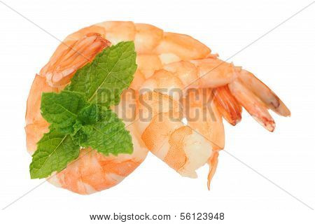 Boiled Shrimps And Mint