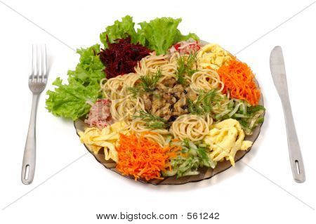 Spaghetti With Beef And Vegetables Isolated Food Dish