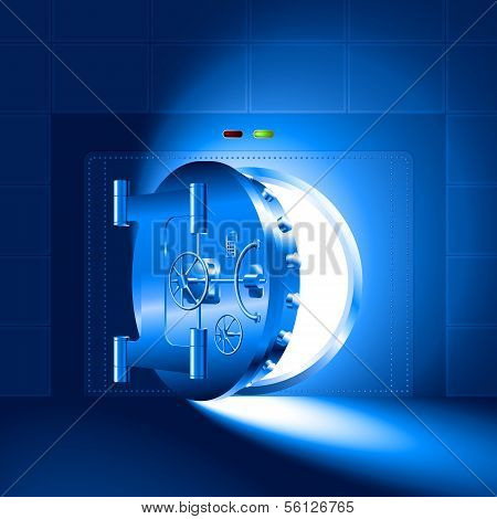 Light half-open door safe blue