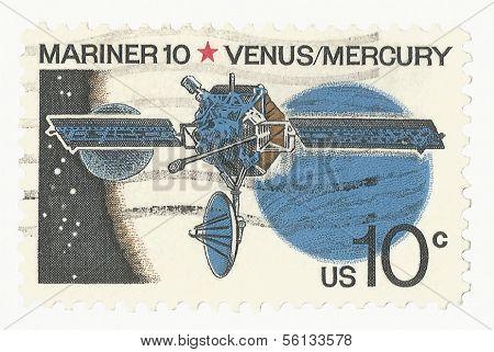 United State Stamp of Mariner 10 passing Venus and Mercury