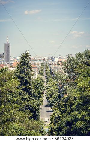 Berlin Avenue In Summer, Shoot From Kreuzberg