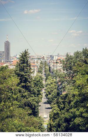 Berlin Avenue In Summer, Shoot From Kreuzberg