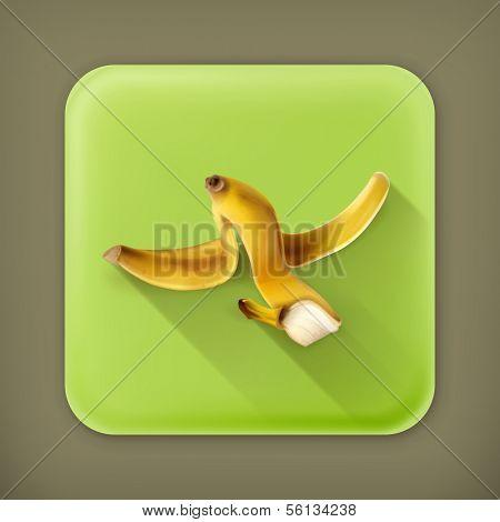 Banana peel, long shadow vector icon
