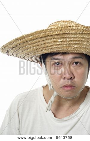 Asian peasant with blank expression