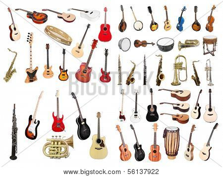 The image of musical instruments isolated under a white background