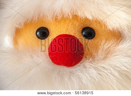 Close-up Portait Of Santa Claus With Red Nose