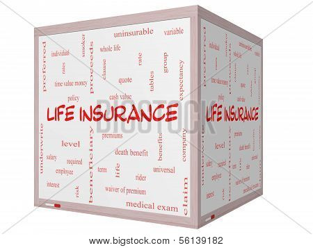 Life Insurance Word Cloud Concept On A 3D Cube Whiteboard