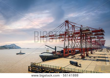 A Row Of Crane In The Harbour