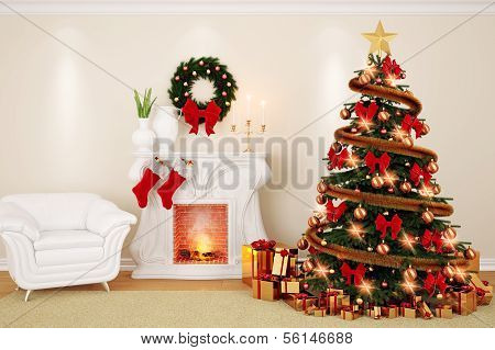 Living Room At Christmas Time With Fireplace, Firtree And Armchair In 3D