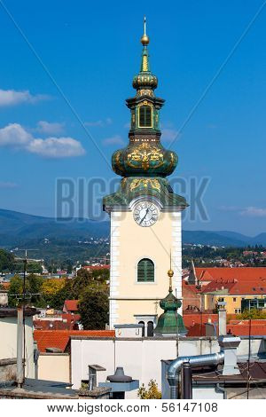 ZAGREB, CROATIA - OCT 2:  The Church of St. Mary tower on October 2, 2013 in Zagreb, Croatia. Originally a minster, it was turned into a parish church in the early 16th century