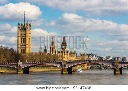 The river Thames and London cityscape, England,UK