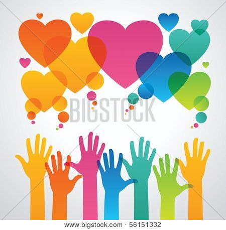 silhouettes of human hands are drawn to the icons of hearts. the concept of love between people .the concept of communication between people  The file is saved in the version AI10 EPS.