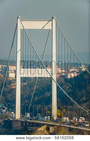 ISTANBUL - November4: The tower of FSM (Fatih Sultan Mehmet Bridge) on November 4, 2013 in Istanbul, Turkey