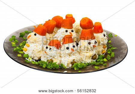 salad in the form of snowmen