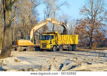 Excavator And Lorry
