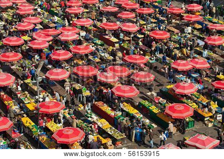 ZAGREB, CROATIA - OCT 2: Aerial view of Dolac market covered with parasols and fresh fruit and vegetables on October 2, 2013 in Zagreb, Croatia. It has been the city's major trading place since 1926