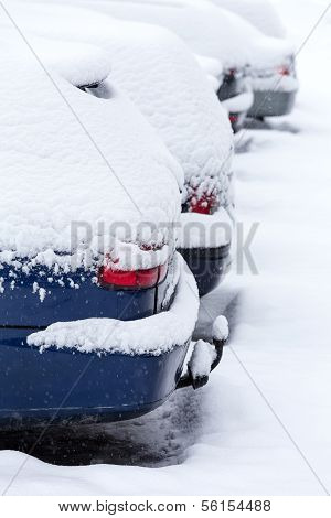 Cars after snowstorm