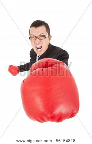 Screaming Businessman Attack To Enemy With Boxing Gloves