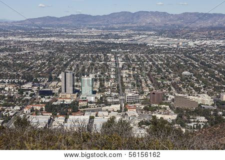 LOS ANGELES, CALIFORNIA - NOVEMBER 24, 2013:  Mountaintop view of the media district in Burbank California.  Shot from Mt Hollywood in Griffith Park.