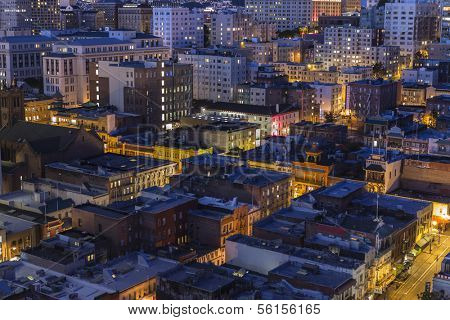 SAN FRANCISCO, CALIFORNIA - JANUARY 13, 2013 : Night view of historic Chinatown and Nob Hill districts in San Francisco California..