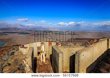 Fortifications on Mount Bental on the border between Israel and Syria