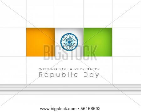 Happy Indian Republic Day concept with national flag colors stickers with Asoka wheel on grey background.