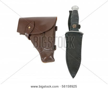 Leather Holster And Knife In Scabbard Isolated On White Background