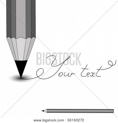 Pencil on the white. Writting word.
