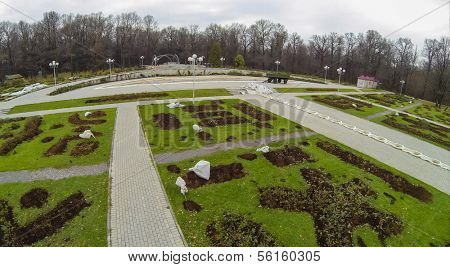 Rosarium in the botanical garden with seedlings and footpath , view from unmanned quadrocopter.