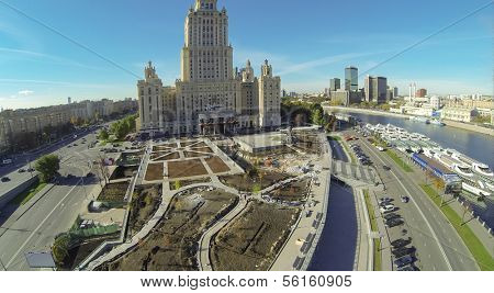 MOSCOW - OCT 12: Reconstruction Square near the monument to Taras Shevchenko near the tall hotel (unmanned drone view) on October 12, 2013 in Moscow, Russia.