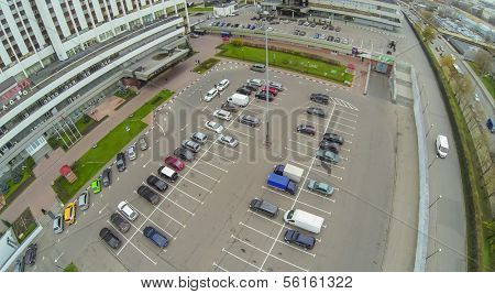 MOSCOW - OCT 21: Car parking in front of multistorey Hotel in Izmailovo, housing Delta (view from unmanned quadrocopter) on October 21, 2013 in Moscow, Russia.