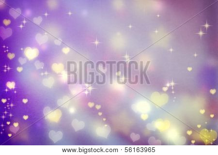 Small Hearts On Purple Background