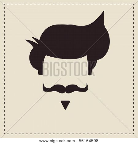 Hipster vintage hair style and mustache, vector illustration