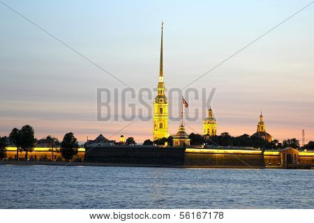 Peter And Paul Fortress In St. Petersburg During Of White Nights