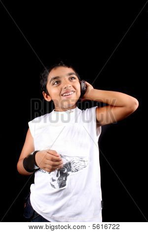 Indian Kid On Phone