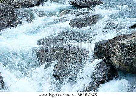 Mountain River Waterfalls. Nature Background.