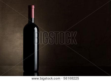 Black bottle of dry wine