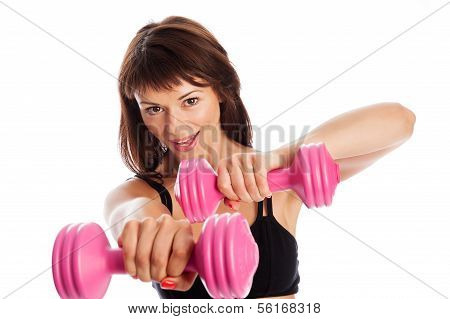 Fit Girl Training With Weights