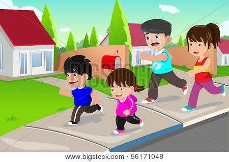 Family Running Outdoor In A Suburban Neighborhood