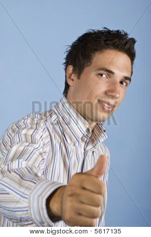 Cool Young Business Man Giving Thumbs Up