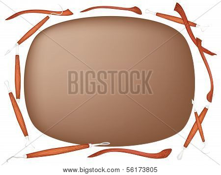 Clay With Sculpting Tools On White Background