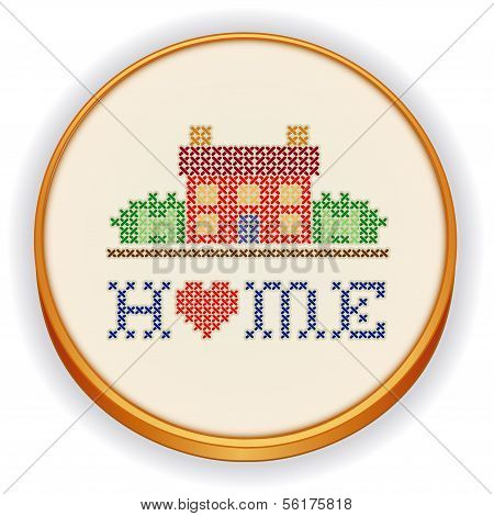 Embroidery, Home Cross Stitch On Wood Hoop