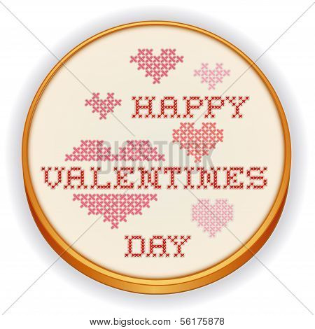 Happy Valentines Day Cross Stitch Embroidery