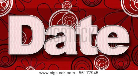 Date in Red Black White Floral Background