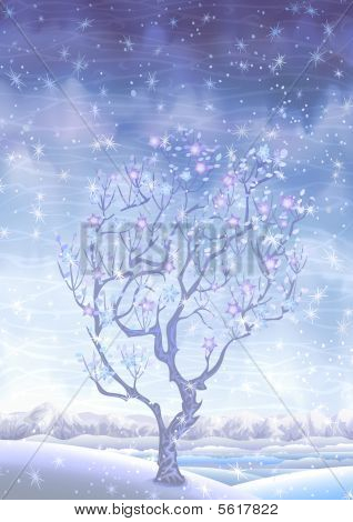 Blooming winter fairy-tale tree