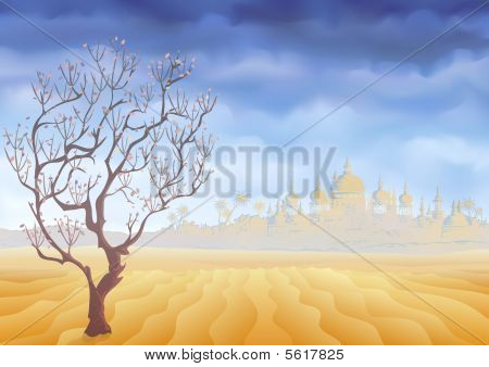 Desert withering tree and an ancient oriental castle mirage